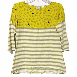 Anthropologie Postmark Bird Stripe Tee 3/4 Sleeve